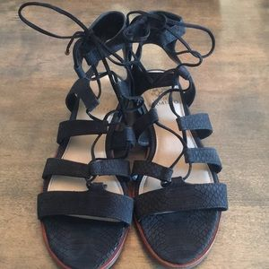 Vince Camuto Black Tany Lace Up Gladiator Sandals